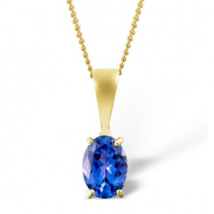 18K Gold 7mm x 5mm Tanzanite Pendant, DCP02-T